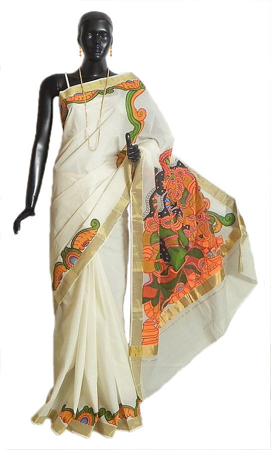 Off-White Kasavu Saree with Golden Zari Border and Hand Painted Temple Murals on Pallu (Cotton)