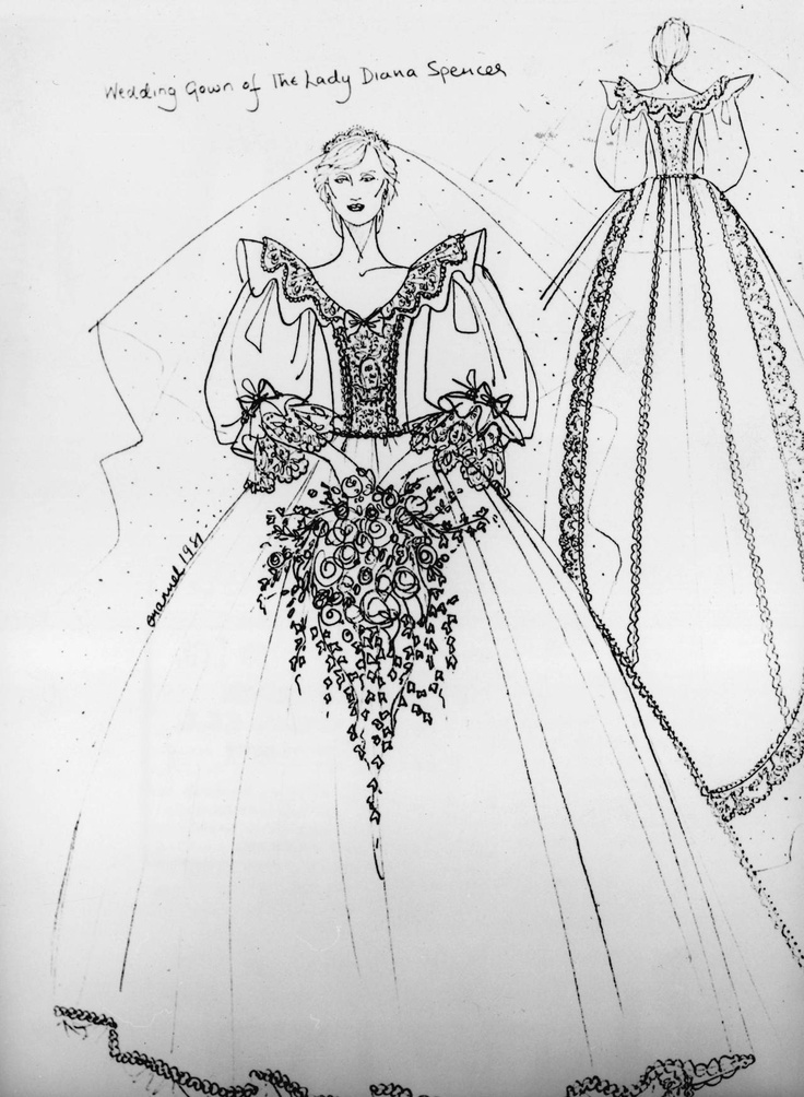 For the Love of Royalty-Royal Wedding Dress Sketches-David and Elizabeth Emanuel for Lady Diana Spencer, 1981