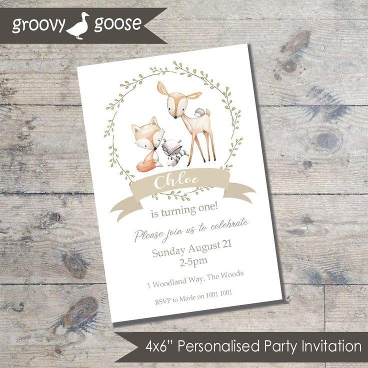 WOODLAND FRIENDS Party invitation DIY Printable Woodland theme party Woodalnd Invitations by groovygoose on Etsy
