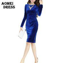 Avrupa marka yeni Kadın Mavi Kadife Elbise Diz Boyu Tam Kol Zarif Güzel Rahat Soğuk Iş Çalışma aşınma Elbiseler(China (Mainland))