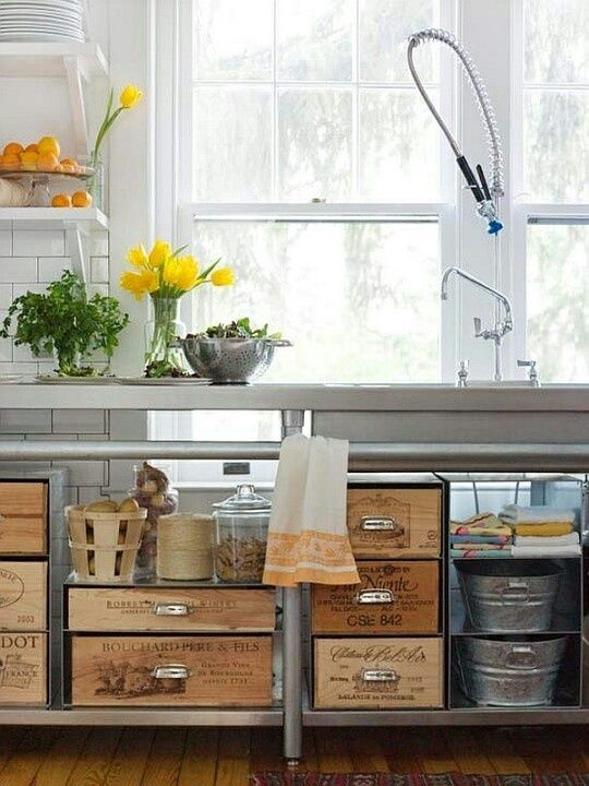 Loving those recycled wine crates with drawer pulls — too clever!