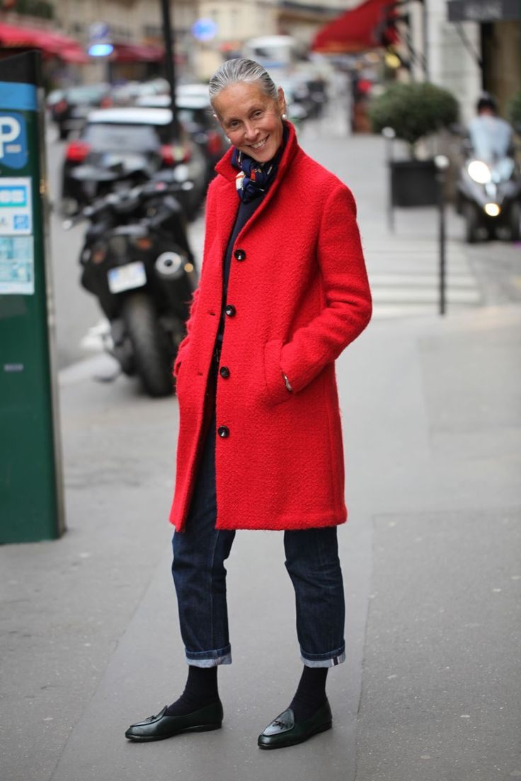 those jeans..and the red coat