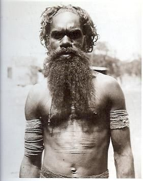 """Aranda man named Twairira, of the Echunpa (Lizard) totem, Alice Springs, 1896"". From The Aboriginal Photographs of Baldwin Spencer, 1982."