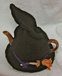 Witch's hat tea cozy.  Maybe I should pin this to my knitting board?