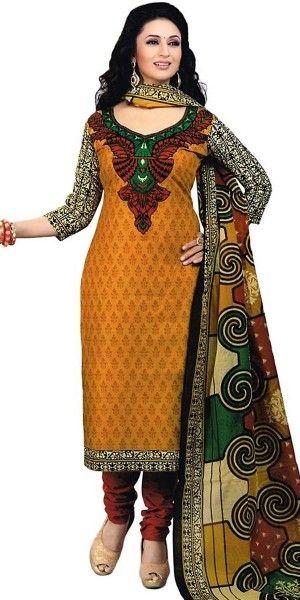 Wondrous Brown Cotton Straight Suit With Dupatta.