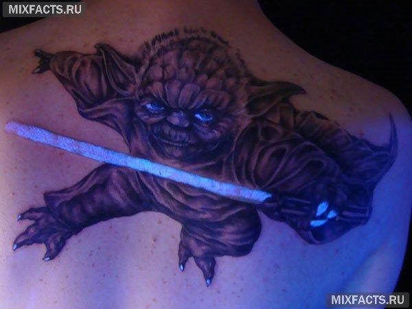 ультрафиолетовая неоновая татуировка