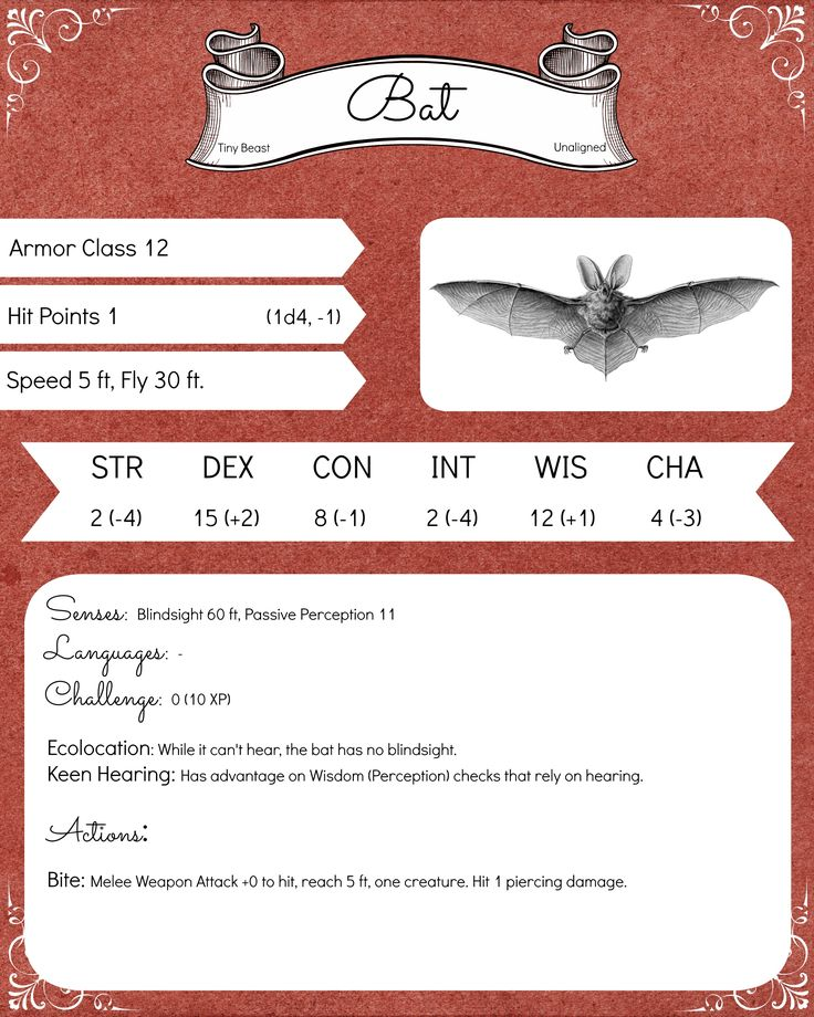 My first Bestiary page I ever made :) The Bat !