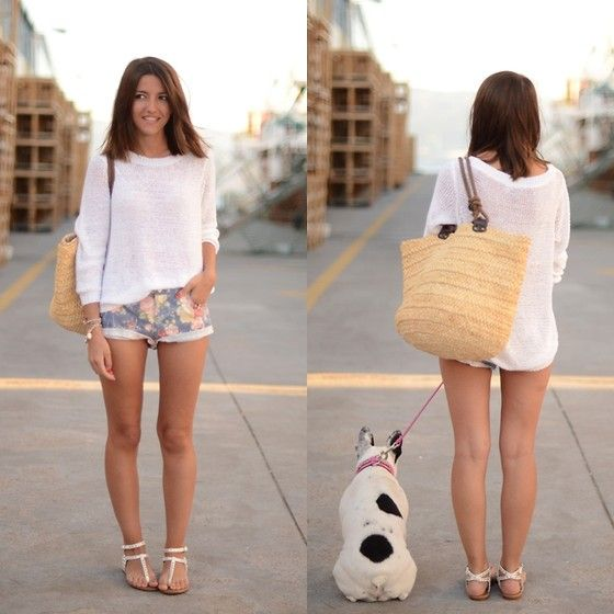 white thong flat sandals, printed short, over-sized white sweater, large straw bag, (dog optional :))