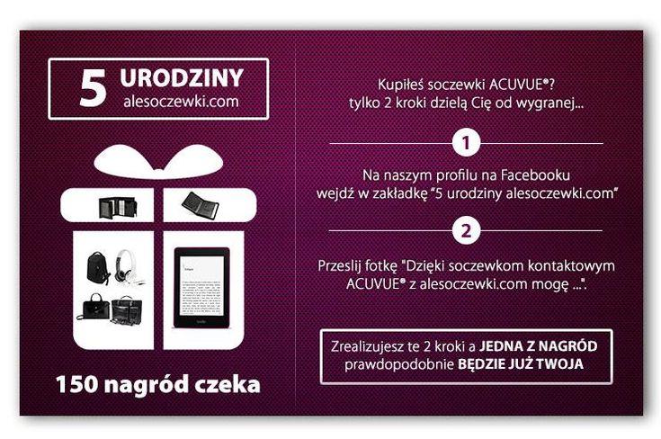 5 Urodziny http://Alesoczewki.com Nie zwlekaj dłużej! Mamy do rozdania aż 150 nagród! https://www.facebook.com/alesoczewki/app_425042714278677?ref=page_intenal…