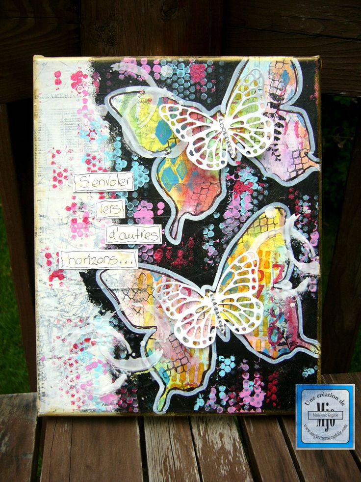 Travail de mise en couleur avec les Gelatos, de la peinture acrylique et des pochoirs.