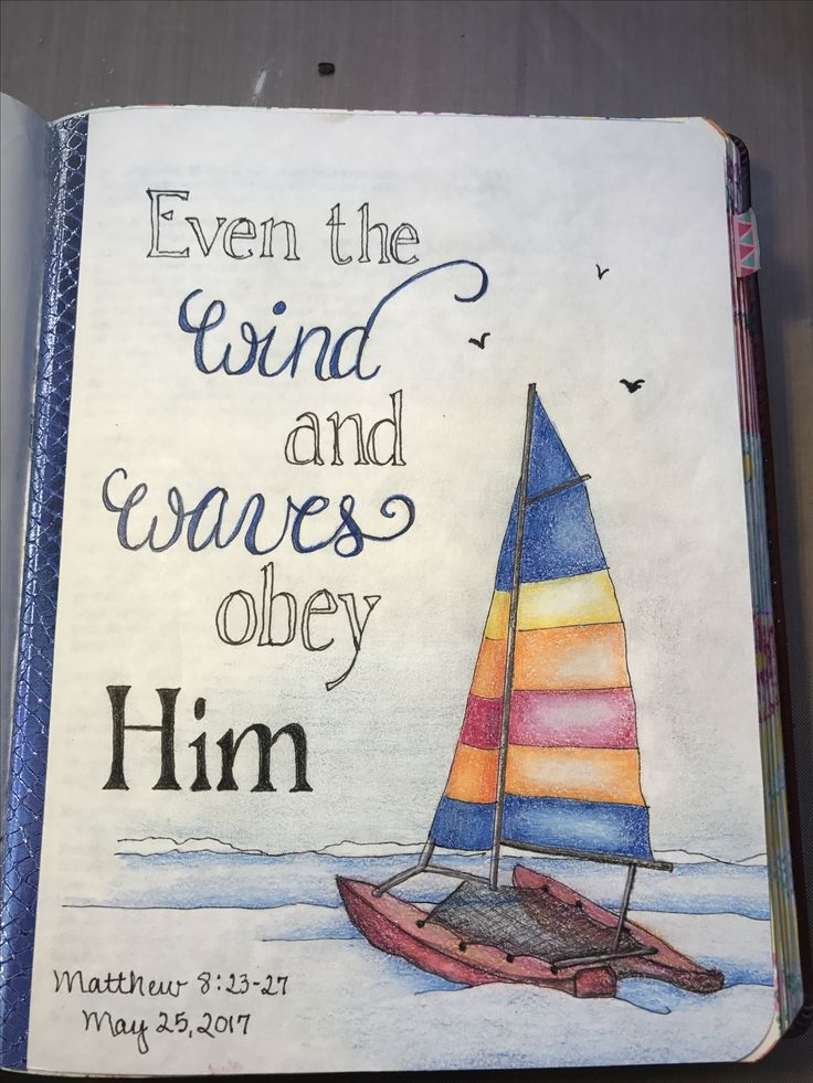 Matthew 8:23-27. Inspired by an art print by Parody Art Prints, Etsy. Sherrie Bronniman - Art Journaling : In My Bible