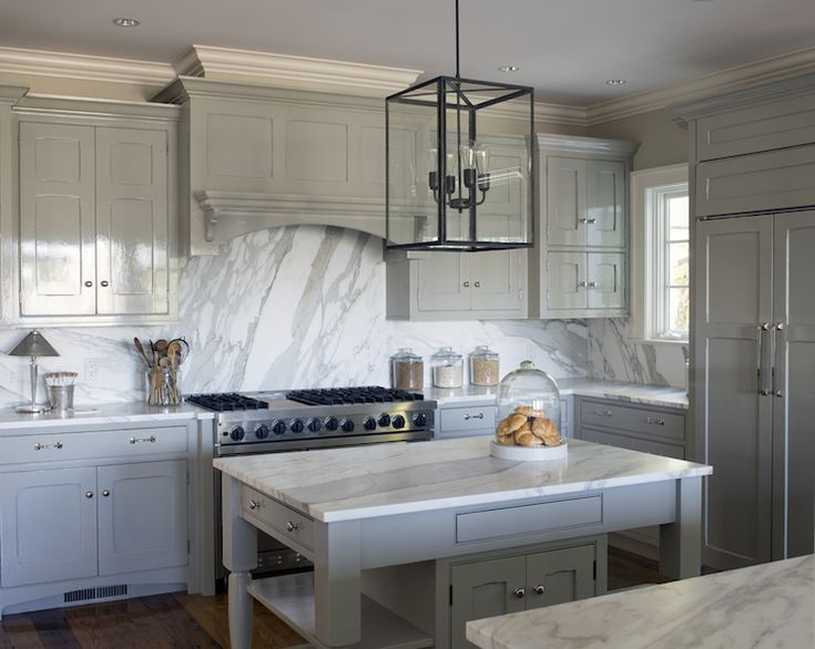 White And Gray Kitchen Features Glossy Gray Cabinets