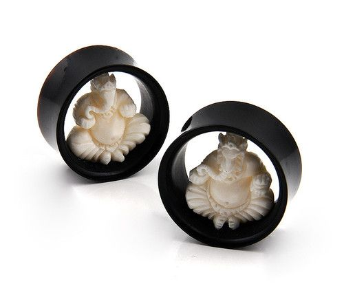 Double Flare Organic Horn Bone Inlay Ganesha God Ear Tunnel Plugs Gauges | eBay