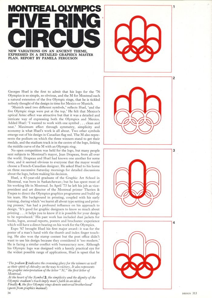 More about Georges Huel's logo for the 1976 Montreal Olympic Games