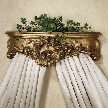 Floral Wreath Wall Teester Bed Crown in old white too $145
