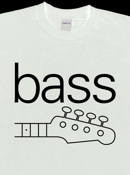 Remera musicwear bass negro sobre blanco