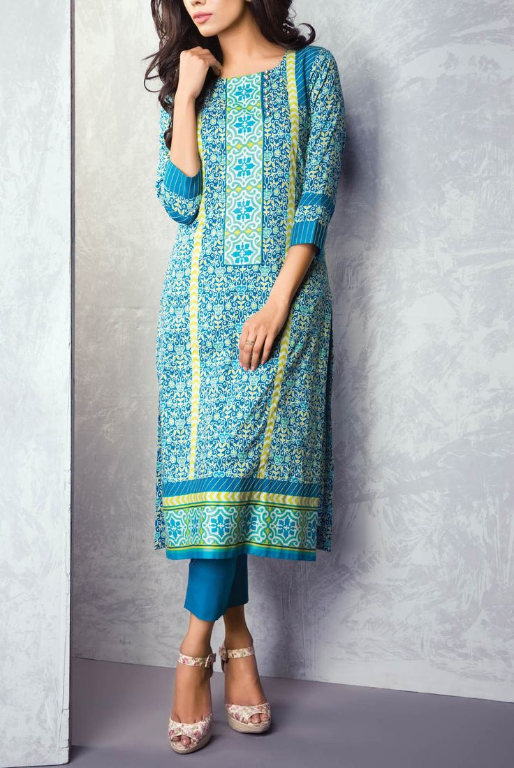 Buy Turquoise Printed Cotton Lawn Kurti by Bonanza Kurti Collection 2015.