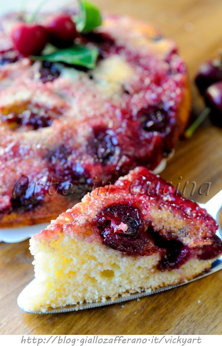 Torta rovesciata alle ciliegie senza burro e olio vickyart arte in cucina