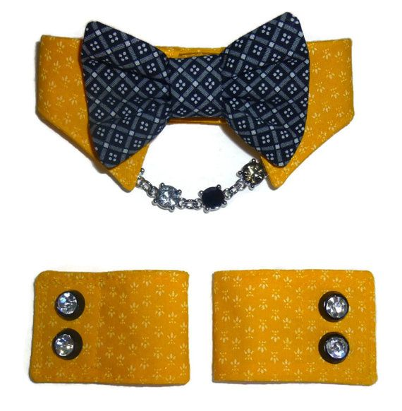Dog Shirt Collar & Dog Cuff Pattern includes all sizes XXSmall through XXLarge.  Classic and distinguished Dog Shirt Collar and Dog Cuffs Pattern for your little dog! Constructed of cotton and cotton blend fabrics, the collar and cuffs are fully lined using Velcro closures at the neck and on the cuffs. The collar and cuffs are perfect for everyday use, special occasions and dont forget the holidays! Planning a wedding or attending one? Dress your little dog to match the occasion! There ar...
