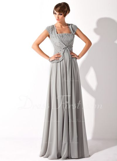 A-Line/Princess Square Neckline Floor-Length Chiffon Mother of the Bride Dress With Ruffle Beading Sequins (008005692)