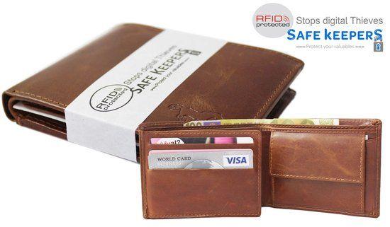 Compact Leren Heren Billfold Portemonnee met RFID Anti Skimm Protection kleur Cognac Bruin art. 1105