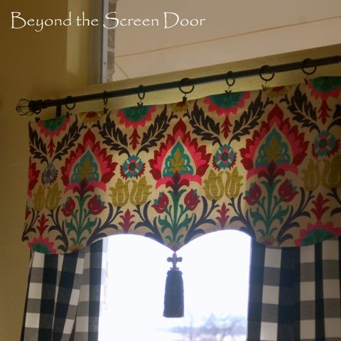 red kitchen and curtain makeover beyond the screen door