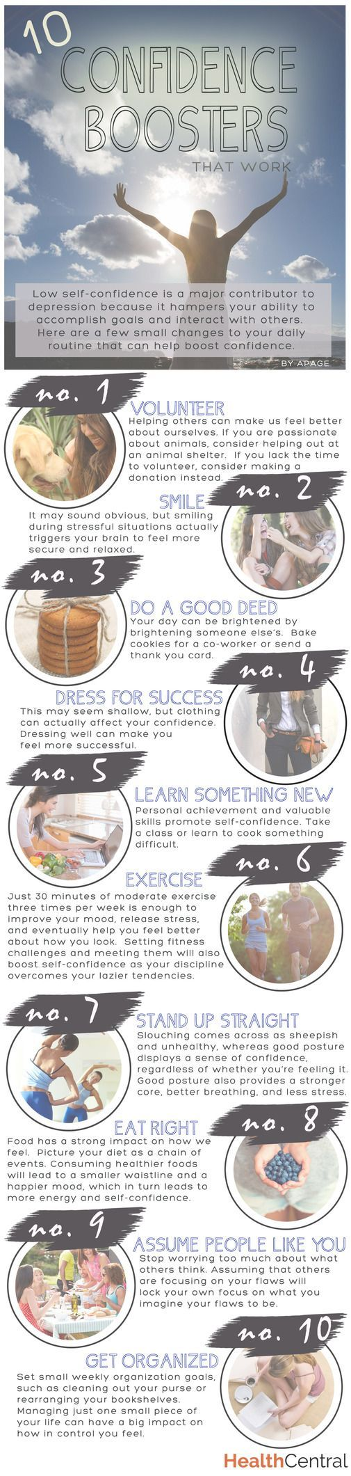 10 Confidence Boosters That Work (INFOGRAPHIC) - See more at: http://www.healthcentral.com/depression/c/458275/167445/confidence-infographic?ic=6030#sthash.O0Vy6Vdn.dpuf self esteem tips, self love