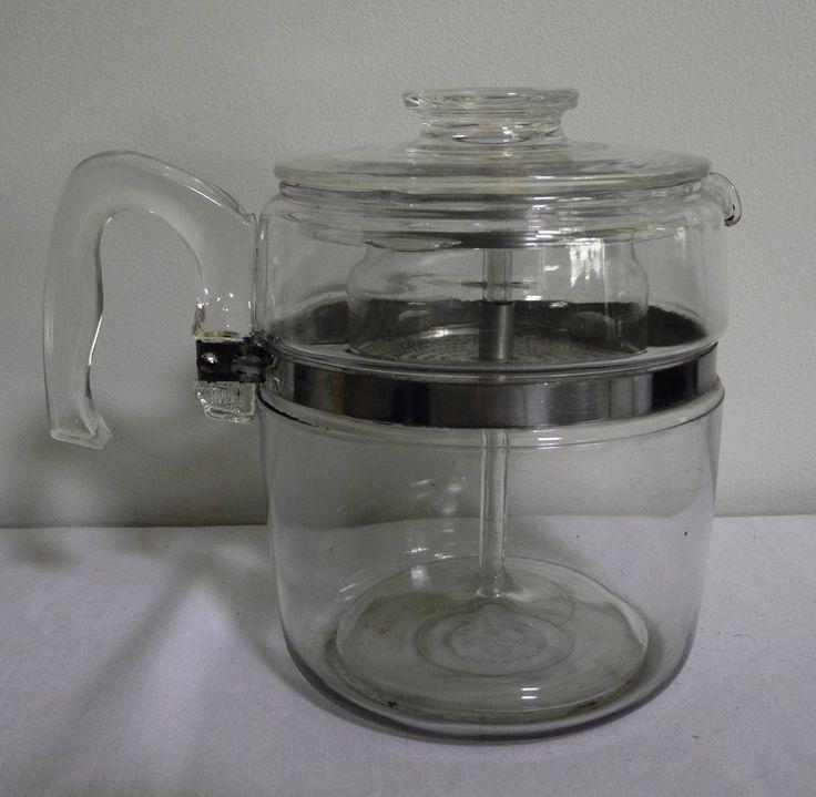 Vintage Retro 60s/70s PYREX GLASS 9-CUP Stove Top COFFEE PERCOLATOR POT