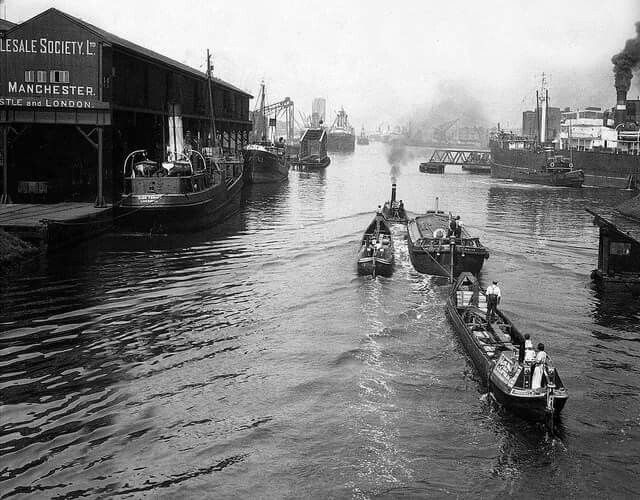 Manchester Ship Canal from Trafford Rd swing bridge 1920s/30s