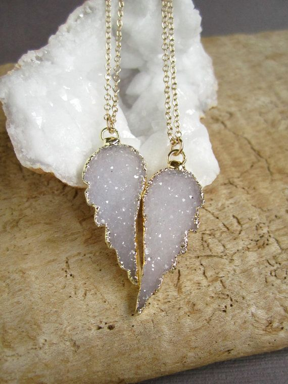 Druzy Angel Wing Friendship Necklaces..