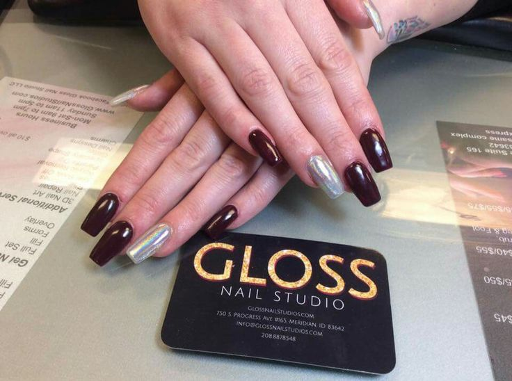Maroon Nails by Angie Heinemann  Gloss Nails:  Schedule an appointment today  (208)887-8548