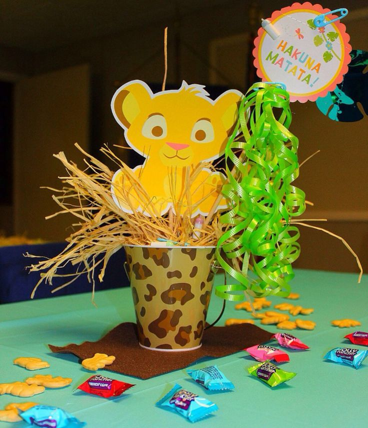 homemade lion king baby shower centerpieces decoration inspiration