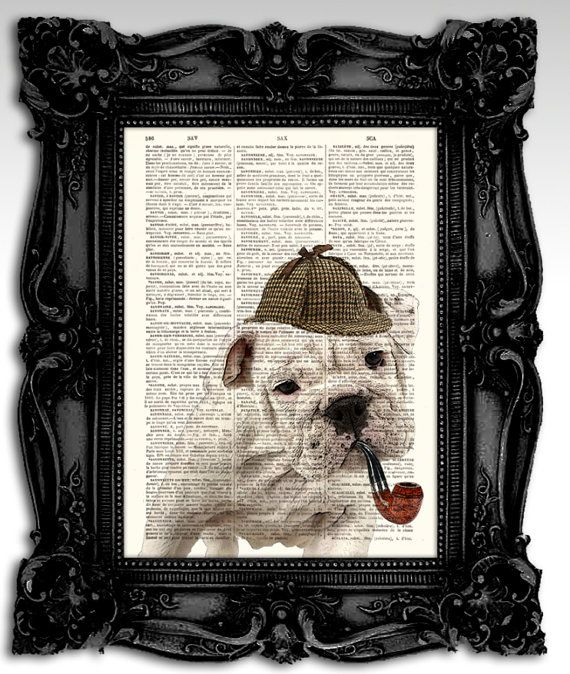Sherlock Holmes Bulldog Dog Artwork Mixed By