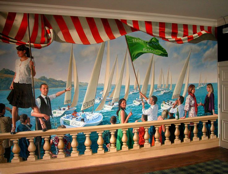 Regatta theme mural, Hotel du Vin, Poole. Oil on canvas 7m x 3.5m