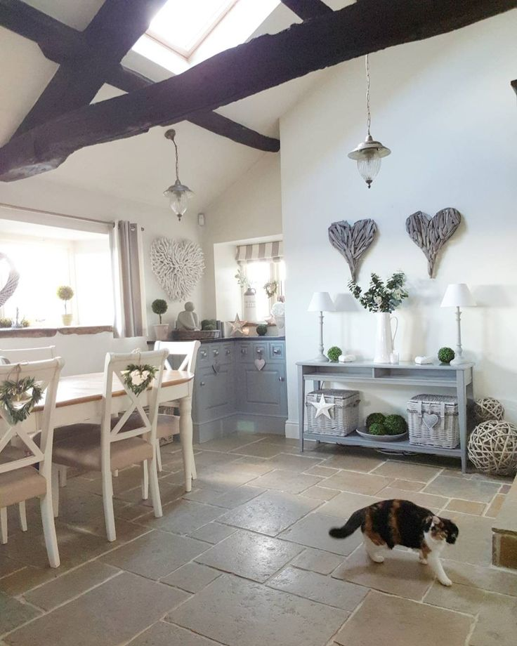 Country Kitchen styled in greys with hearts...baskets and greenery - West Barn Interiors home decor accessories.