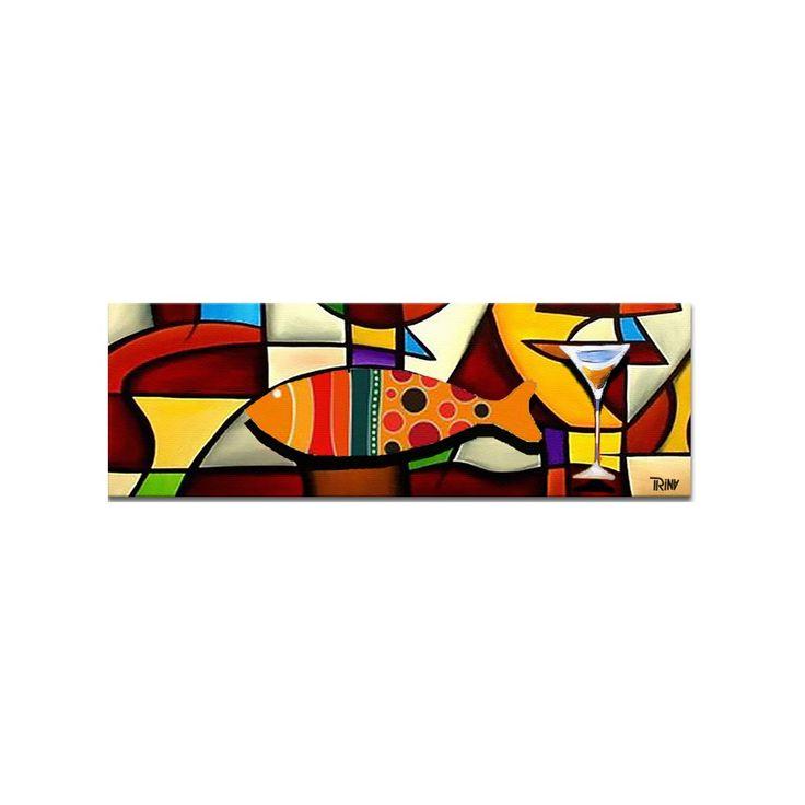 Leuk schilderij voor in de eetkamer of keuken 'Dinner Conversation' van Irina, formaat 150 x 50 cm met acrylverf op canvas frame #eetkamer #schilderij #keuken #interieur #kunst #vis #cocktailglas