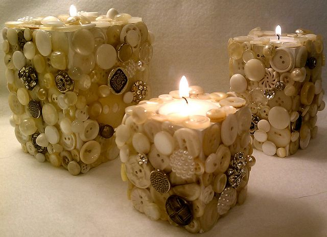 Button Tealight holders, I could do this with all the shells we have from the beach!