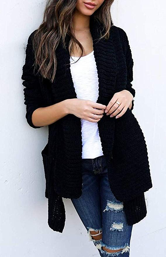 ZESICA Womens Long Sleeve Open Front Cable Knit Loose Chunky Cardigan  Sweater  e3d470a49