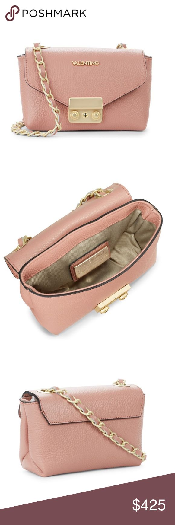 Valentino Pink Leather & Gold Chain Crossbody Bag Valentino Pink Leather & Gold Chain Crossbody Bag • Gorgeous Genuine Leather • Gold tone Hardware • Details and measurements in the last photo. Gorgeous bag! Brand new with tags & authenticity card. Mario Valentino Bags Crossbody Bags