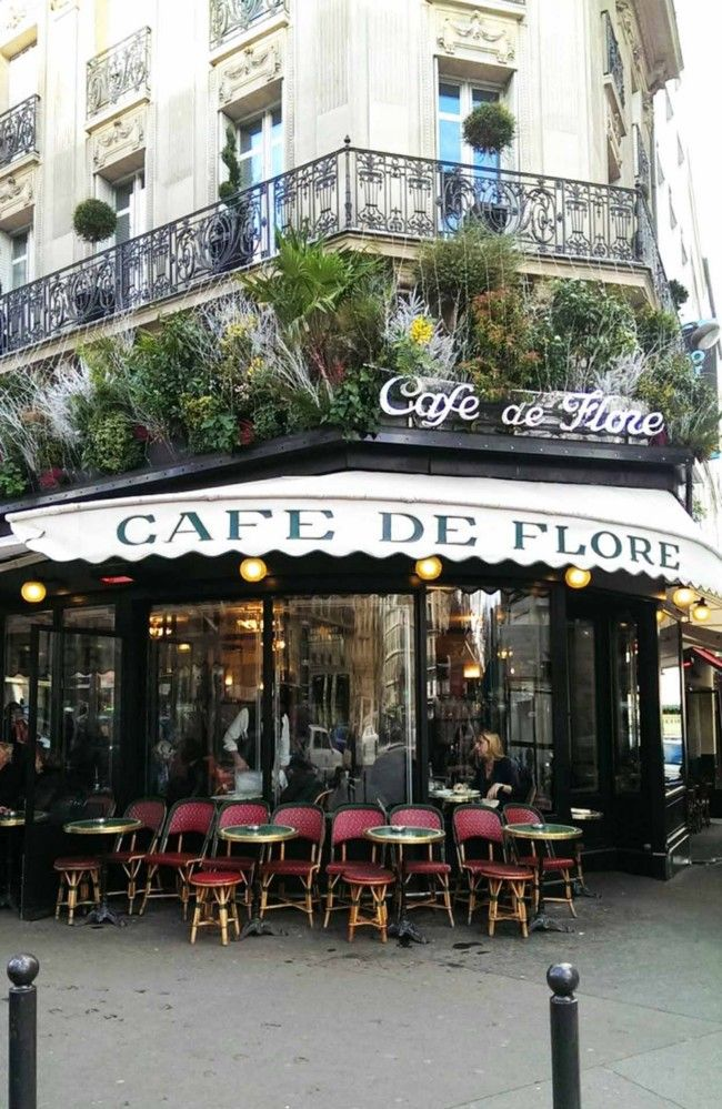 Café de Flor, classic left bank institution for apero & people watching in Paris.