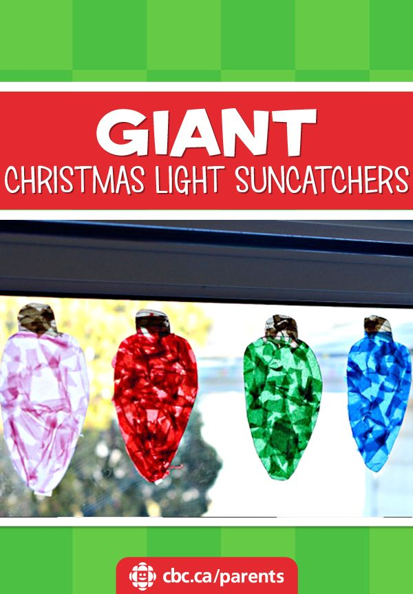 A less-messy craft for the holidays: giant Christmas light suncatchers, made with contact paper and tissue paper.