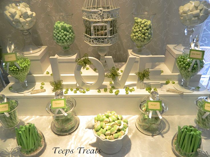 green and white wedding candy buffet