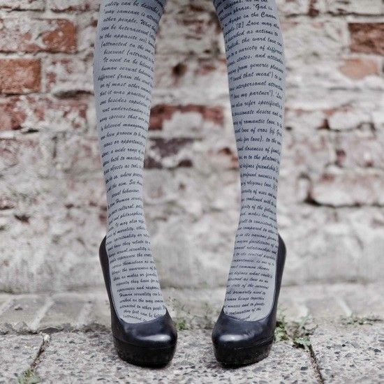 Love Text Print Tights Grey & Black. (Thanks to Ashley Dodge for pointing me to these.): Shoes, Prints Tights, Texts Prints, Style, Socks, Book, Writing, Grey, Literary Tights