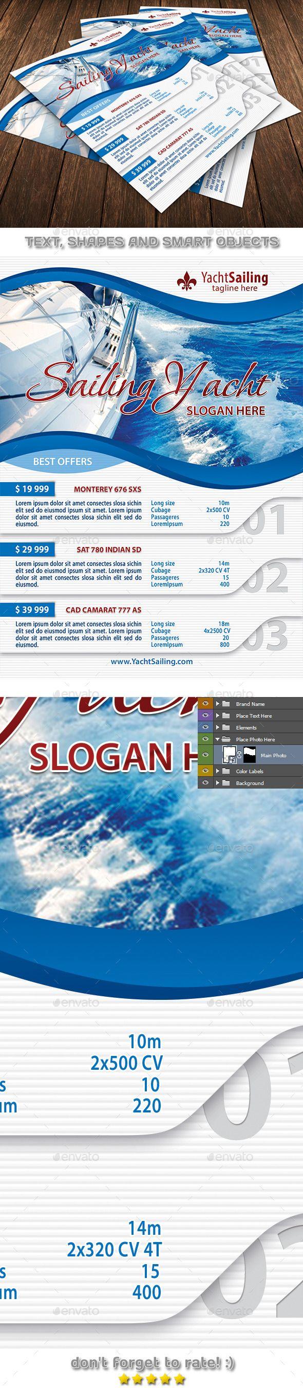 Yacht Sailing Travel Club Flyer Template 98 - Flyers Print Templates