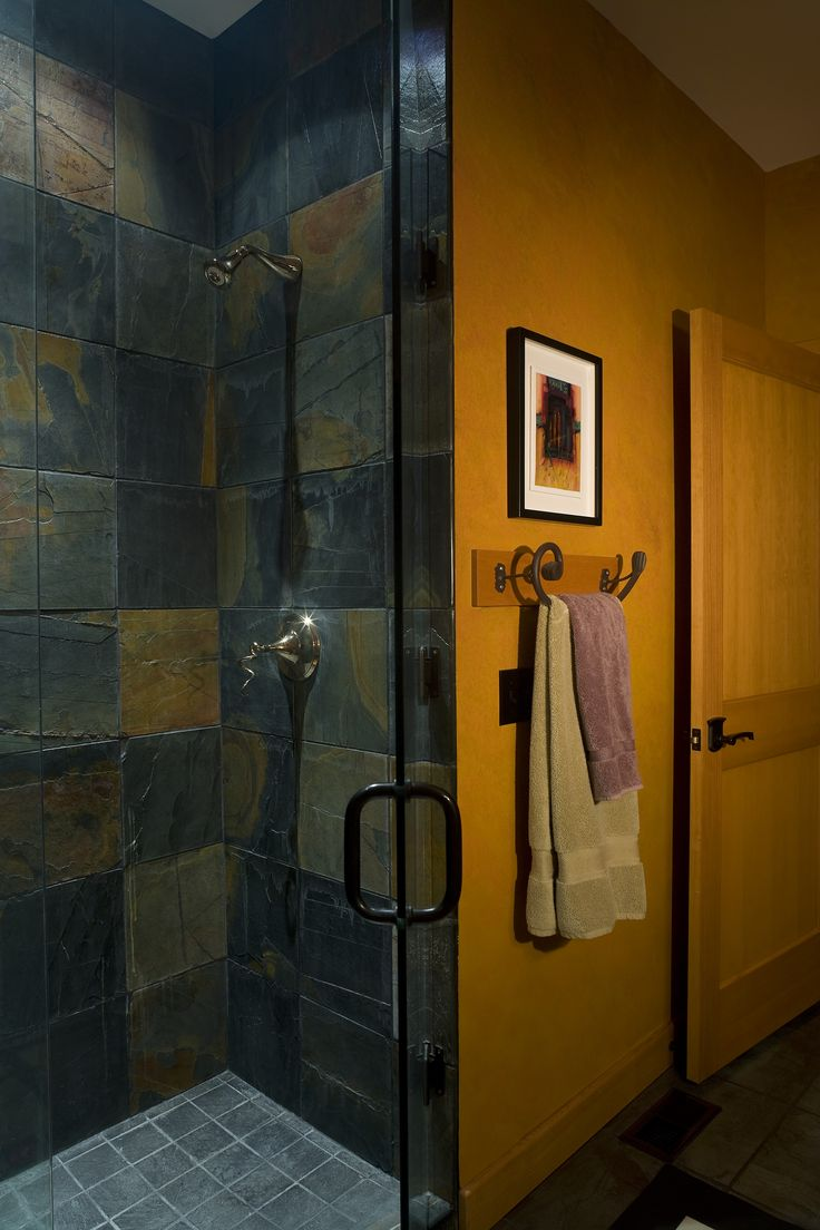 A Gorgeous Walk In Shower With Slate Tile And Gray Floors