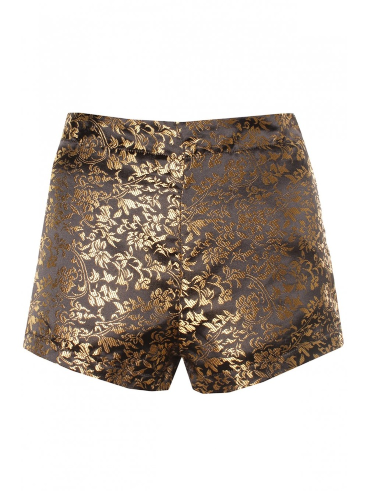 Black & Gold Floral Print Brocade Shorts