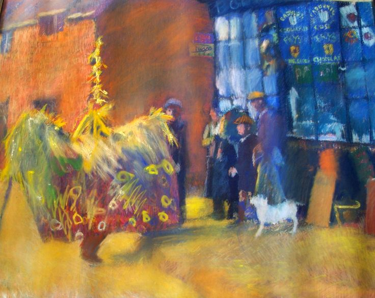 Large pastel drawing (c 200cm x 300cm) of Minehead Hoss by Dave Pearson (1937 - 2008)