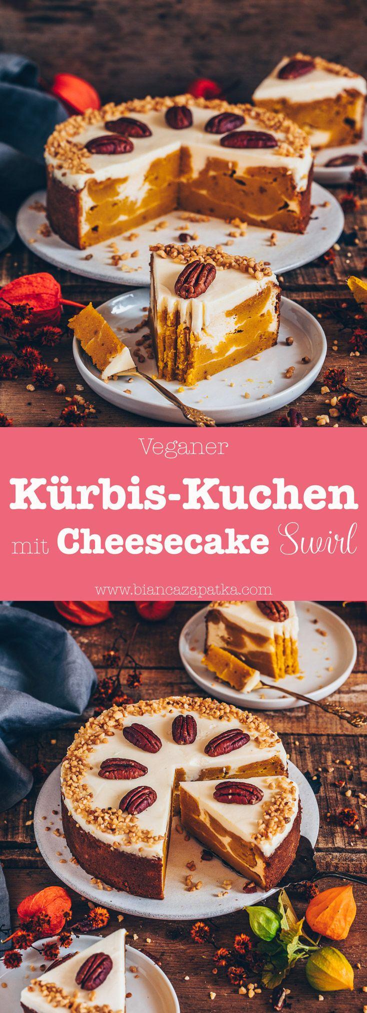 Kürbiskuchen mit Cheesecake Swirl (vegan)   – Food