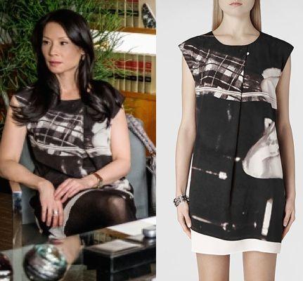 Elementary season 2, episode 15: Joan Watson's (Lucy Liu) graphic-print/digital-print Resonate Dress by All Saints