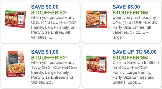 Stouffer's Coupons - $3 off any Stouffer's Party Size Entree and $2 off one Stouffer's Family Size Entree